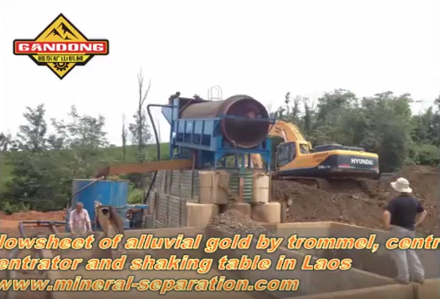 The mining site of alluvial gold in Laos